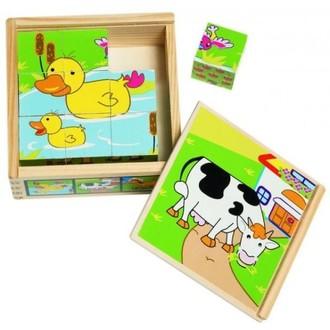 Stavebnice - Kostky obrázkové 9ks - Zvířata (Woody)
