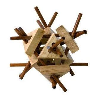 JIŽ SE NEPRODÁVÁ - Hlavolam dřevěný - Tyčky s trojúhelníky (Woody)