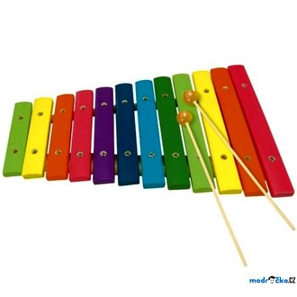 Dřevěné hračky - Hudba - Xylofon 12 tónů, celodřevěný barevný (Bino)