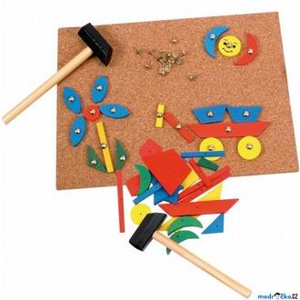 Dřevěné hračky - Hra s kladívkem - Deska s přibíjecími tvary (Woody)