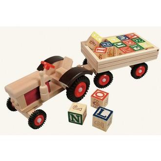 Dřevěné hračky - Auto - Traktor s vlečkou a kostkami ABC (Bino)