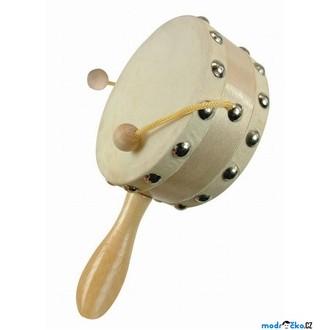 Dřevěné hračky - Hudba - Bubínek s rukojetí, přírodní (Bino)