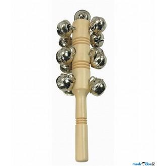 Dřevěné hračky - Hudba - Zvonkohra s 13 rolničkami, přírodní (Bino)