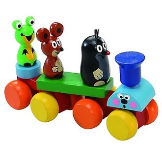 Dřevěné hračky - Vlak skládací - Krtek se zvířátky (Detoa)
