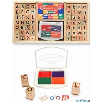 Dřevěné hračky - Razítka dřevěná - Abeceda v krabičce (M&D)