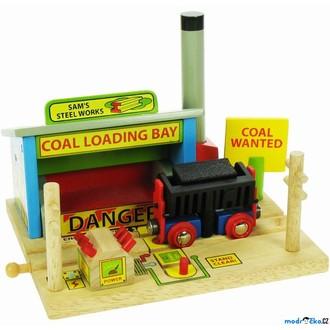 Vláčkodráhy - Vláčkodráha budovy - Ocelárna s výklopnou na uhlí (Bigjigs)