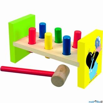 Dřevěné hračky - Zatloukačka - Barevná Krtek, 6 kolíků (Bino)