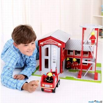Dřevěné hračky - Hasičská stanice - Dřevěný hrací set s autem (Bigjigs)