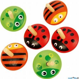 Dřevěné hračky - Drobné hračky - Káča dřevěná, Zvířátka, 1ks (Bigjigs)