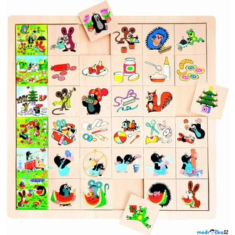 Puzzle a hlavolamy - Puzzle výukové - Co kam patří, Krtek, 36ks (Bino)
