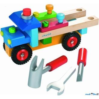 Dřevěné hračky - Auto montážní - Nákladní s nářadím, barevné (Janod)