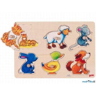 Puzzle a hlavolamy - Puzzle odkrývací - Zvířátka, rodiče a děti (Goki)
