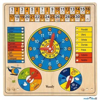 JIŽ SE NEPRODÁVÁ - Hodiny - S kalendářem a barometrem (Woody)