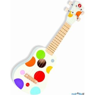 Dřevěné hračky - Hudba - Kytara Ukulele, Bílá, 4 struny (Janod)