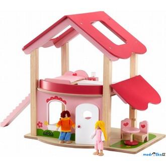 Dřevěné hračky - Domeček pro panenky - Růžový + nábytek (Wonderworld)