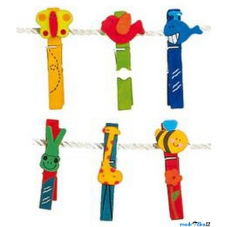 Dřevěné hračky - Kolíčky - Velká barevná sada, Zvířátka, 24ks (Legler)