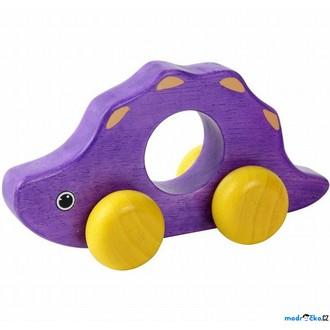 Dřevěné hračky - Zvířátko na kolečkách - Dinosaurus fialový (Voila)