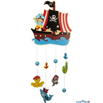 Dřevěné hračky - Kolotoč závěsný dřevěný - Pirátská loď (Bigjigs)