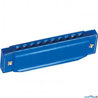Dřevěné hračky - Hudba - Foukací harmonika, modrá (Bino)