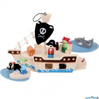 Dřevěné hračky - Loď dřevěná - Pirátská loď s figurkami (Bigjigs)