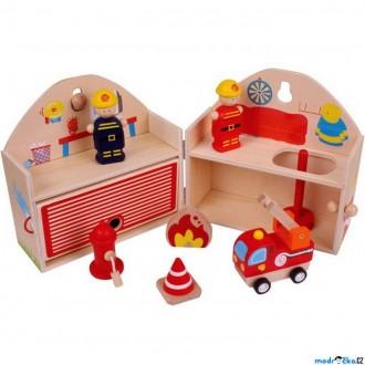 Dřevěné hračky - Hasičská stanice - V kufříku s figurkami (Bigjigs)