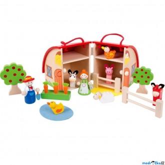 Dřevěné hračky - Farma dřevěná - V kufříku s figurkami (Bigjigs)