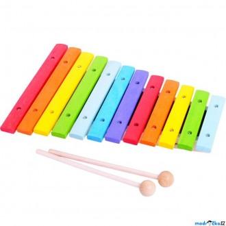 Dřevěné hračky - Hudba - Xylofon 12 tónů, celodřevěný barevný (Bigjigs)
