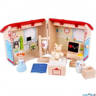 Dřevěné hračky - Domeček pro panenky - Zvěrolékař v kufříku (Bigjigs)