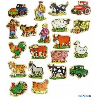 Dřevěné hračky - Magnetky - Na farmě, 20ks (Bigjigs)