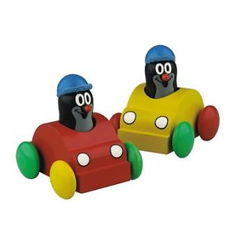 Dřevěné hračky - Auto - Pískací, Krtek v autíčku, žluté (Detoa)