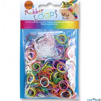 JIŽ SE NEPRODÁVÁ - Gumičky pletací - Rubber Loops, Mix barev, 600ks (Folia)
