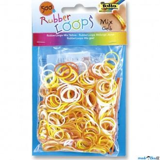 JIŽ SE NEPRODÁVÁ - Gumičky pletací - Rubber Loops, Mix žlutá, 500ks (Folia)