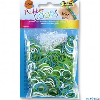 JIŽ SE NEPRODÁVÁ - Gumičky pletací - Rubber Loops, Mix zelená, 500ks (Folia)