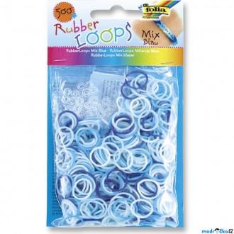 JIŽ SE NEPRODÁVÁ - Gumičky pletací - Rubber Loops, Mix modrá, 500ks (Folia)
