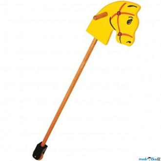 Dřevěné hračky - Koňská hlava na tyči - Dřevěná žlutá (Bigjigs)