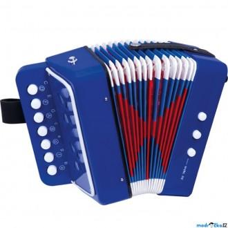Dřevěné hračky - Hudba - Tahací harmonika modrá (Bino)