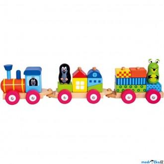 Dřevěné hračky - Vlak skládací - Vlak s domečky, Krtek (Bino)