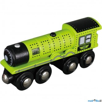 Vláčkodráhy - Vláčkodráha vláčky - Lokomotiva parní zelená dlouhá (Maxim)