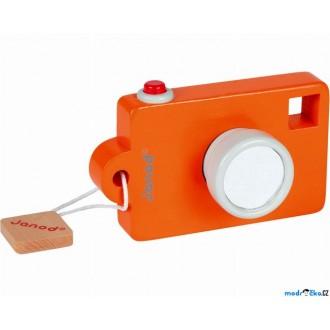 JIŽ SE NEPRODÁVÁ - Fotoaparát dřevěný - Se zvukem, Oranžový (Janod)
