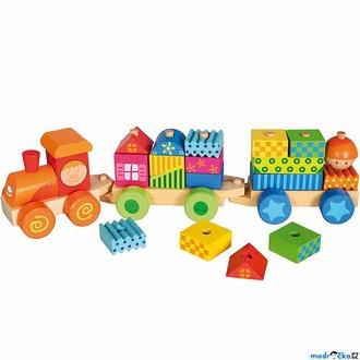 Dřevěné hračky - Vlak skládací - Vlak s domečky (Bino)