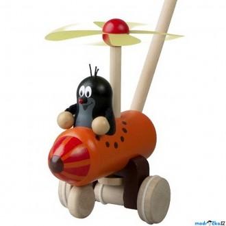 Dřevěné hračky - Jezdík na tyči - Strkadlo Krtek a vrtulník (Detoa)