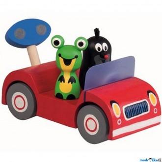 Dřevěné hračky - Auto - Krtek na výletě, červené auto (Detoa)