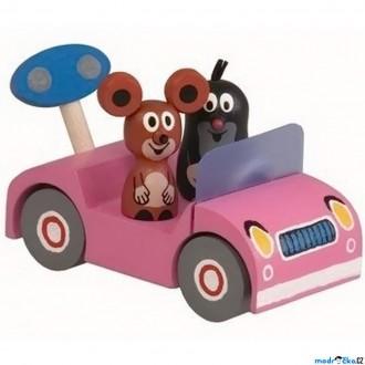 Dřevěné hračky - Auto - Krtek na výletě, růžové auto (Detoa)