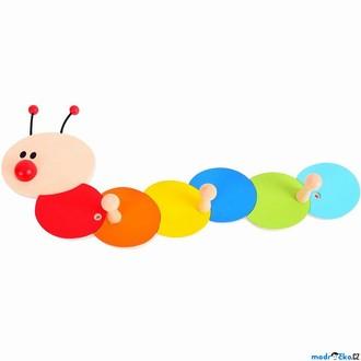 Dřevěné hračky - Věšák dřevěný - Trojvěšák, Housenka (Bigjigs)