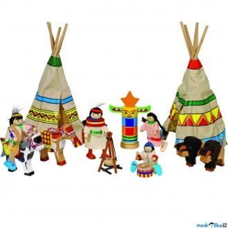 Dřevěné hračky - Panenky do domečku - Indiáni ve vesnici, 14 dílů (Goki)