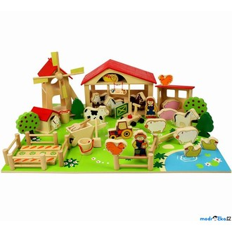 Dřevěné hračky - Farma - Velká dřevěná farma, 48 dílů (Bigjigs)