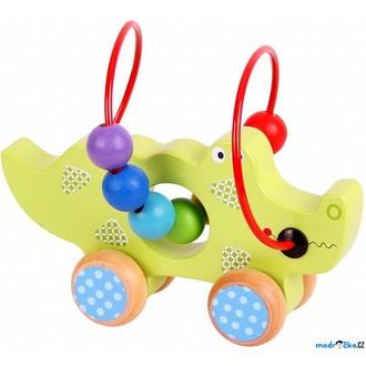 Dřevěné hračky - Zvířátko na kolečkách - Drátěný labyrint krokodýl (Bigjigs)