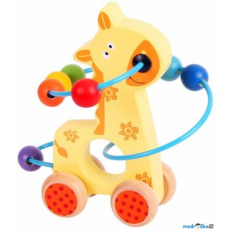 Dřevěné hračky - Zvířátko na kolečkách - Drátěný labyrint žirafa (Bigjigs)
