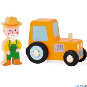 JIŽ SE NEPRODÁVÁ - Auto - Set dřevěný, Traktor s farmářem (Janod)