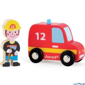 JIŽ SE NEPRODÁVÁ - Auto - Set dřevěný, Hasičské auto s hasičem (Janod)